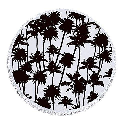 kybbe beliebtes Ananas rund Fransen Strandtuch Überwurf Tapisserie Hippie Boho Gypsy Baumwolle Tischdecke Yogamatte Wandteppich für von beliebten Kunsthandwerk Multi6 (Palm-baum-design-teppich)
