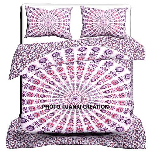 ueen Size indische Baumwolle Überwurf Doona Cover Decke Set, Tröster Mandala Bettbezug mit Kissenbezügen, Peacock Mandala Schlafzimmer Decor, Boho Tröster, Decke, Bettbezug, (Tröster Cover Queen Baumwolle)