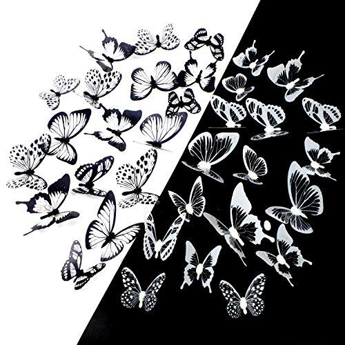 Coceca 36pcs 3D Vinilos de pared de mariposas, mariposas de cristal de