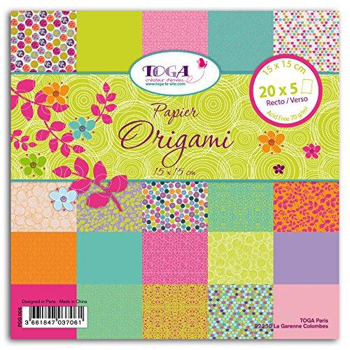 Unbekannt Toga pog006Duftwicke 100Stück Blatt Origami Papier Bunt 15x 15x 1cm