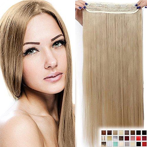 "Clip in Extensions Haarverlängerung Haarteil hitzebeständig wie Echthaar Glatt 1 Tresse 5 Clips 23""(58cm)-140g"