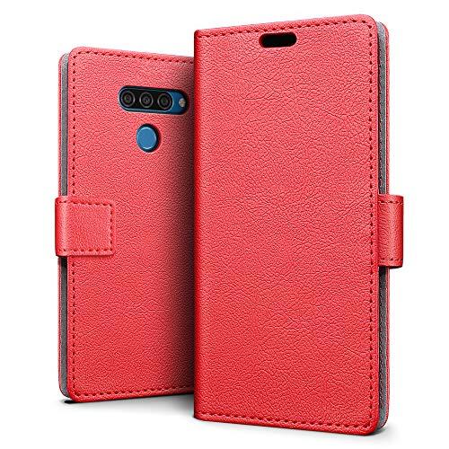 SLEO Hülle für LG Q60 / LG K12 Prime Hülle, PU lederhülle [Vollständigen Schutz] [Kreditkartenfach] Flip Brieftasche Schutzhülle im Bookstyle für LG Q60 / LG K12 Prime- Rot