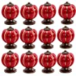 SAGUARO� 12Pcs Pumpkin Zinc Ceramic Door Knobs Drawer Pull Handle Kitchen Cabinet Cupboard Wardrobe Red