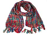 Ladies Soft Winter Scarf - Chunky Tweed Effect - Vibrant and Multi Colour - Large and Warm Shawls Wraps Shrugs Poncho - Hygge Cosy - Gifts Presents for Her (Christmas Red)