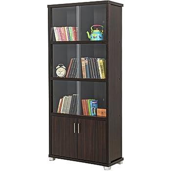 Royaloak Bookshelf With Sliding Doors Dark Brown