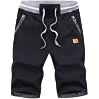 Tansozer Mens Summer Casual Shorts Cotton with Elasticated Waistband