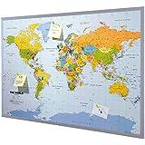 """Tablero de corcho para notas """"Mapa Mundial"""" inglés con 12 banderitas para marcar aprox. 90 x 60 cm"""