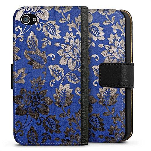 Apple iPhone X Silikon Hülle Case Schutzhülle Ornament Blumen Silber Sideflip Tasche schwarz