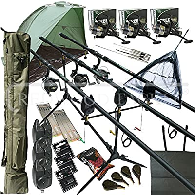 "Deluxe Full Carp fishing Set Up With Rods, Reels, Alarms, 42"" Net, Holdall, Bait, Bivvy & Tackle from REDWOODTACKLE"