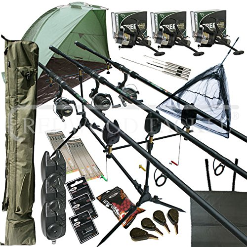 deluxe-full-carp-fishing-set-up-with-rods-reels-alarms-42-net-holdall-bait-bivvy-tackle