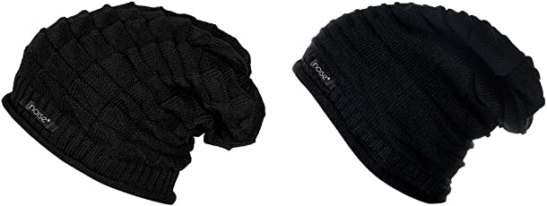 Noise Combo of Black Knitted and Black Wrinkled Winter Beanie Cap