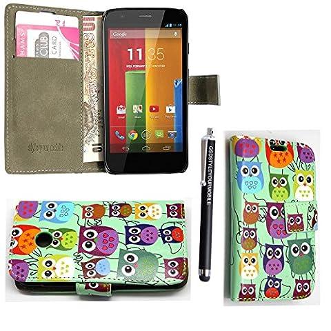 KAMAL STAR® Motorola Phones Handsets Premium PU Leather Card Magnetic Flip Case Cover + Stylus (Moto E2 Moto E (2nd Gen), Design 01 Multi Owls