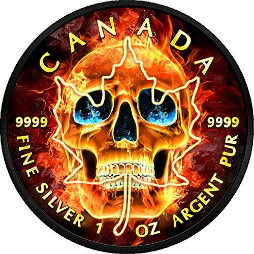 Power Coin Burning Skull Brennenden Schädel Ahornblatt Maple Leaf Ruthenium 1 Oz Silber Münze 5$ Canada 2018 -