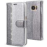 WIWJ Kompatibel mit Samsung Galaxy S7 Hülle,Handyhülle Samsung Galaxy S7,Flip Case Cover Premium Tasche[Punktbohrer Ledertasche]Handytasche Brieftasche Hülle Etui Schutzhülle-Silber