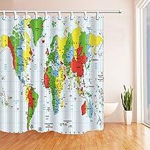 GoHEBE - Cortinas de ducha con ganchos para cortina de ducha incluidos, diseño de mapa del mundo para educar a los niños, de poliéster, impermeables, color verde y azul
