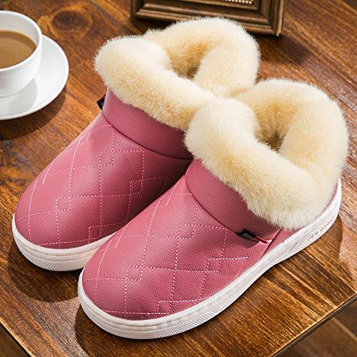 DogHaccd pantofole,Il cotone pantofole inverno femmina di spessore, antiscivolo pacchetto indoor thermal giovane con un soggiorno negli uomini PU pelliccia cotone felpato mop Il vino è di colore rosso3