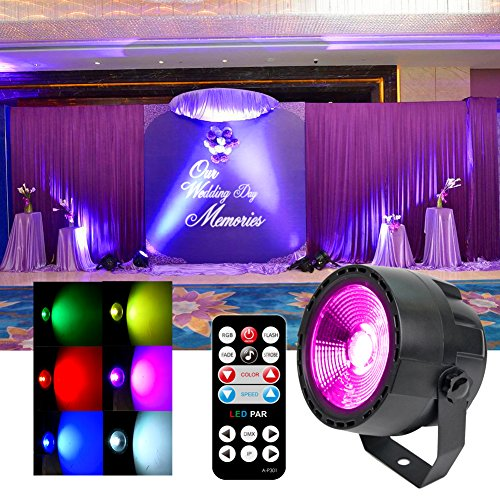 KOOT DJ Licht Party Par Disco Licht COB LED Bühnenlicht DMX Steuerung Blitzlicht Sound Aktiviert mit Fernbedienung für Party Club Geburtstagsparty -