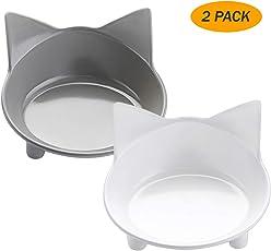 lesotc Futternapf Katze, 2 Stück Edelstahl Rutschfest Katzen Napf | Katzennapf Set | Fressnapf Katze | Futterschüssel Katze | Wasser Fütterung Schüssel