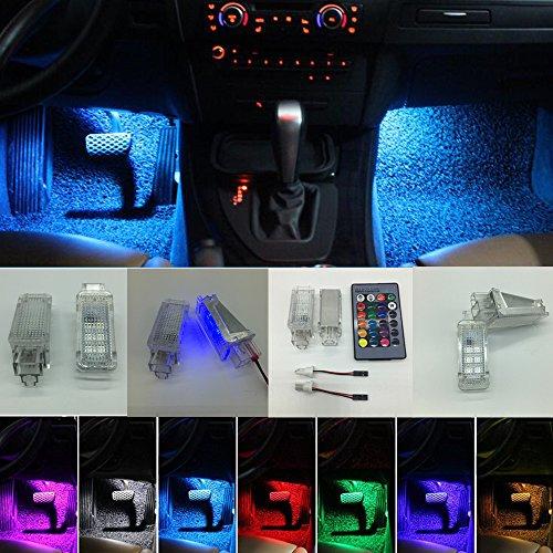 voiture intérieur rgb couleur del ambiant - lumières ambiant avec commande à distance pour a3, a4, b5, b6 b7 et b8, a6, c5, c6, a5, tt, q7, a1, r7, r8, q3, a8, - 2pcs par série