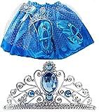 Eiskönigin Eisprinzessin Set Kinder Kostüm Verkleidung 2 bis 3 Jahre Elsa Krone Diadem für Kleid