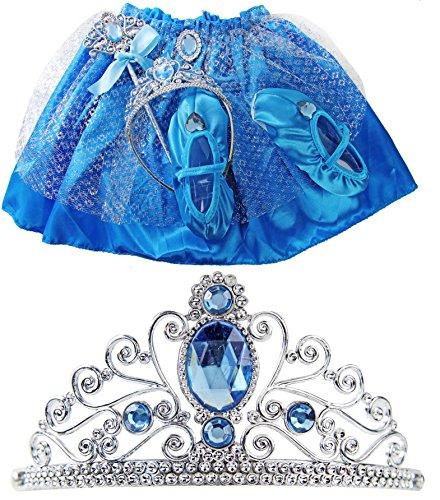essin Set Kinder Kostüm Verkleidung 2 bis 3 Jahre Elsa Krone Diadem für Kleid (Frozen Tutu-kleid)
