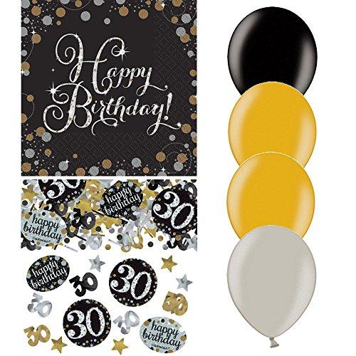 tagsdeko Zum 30. Geburtstag   21 Teile All-In-One Set Luftballon Servietten Konfetti Pink Schwarz Violett Party Deko Happy Birthday ()