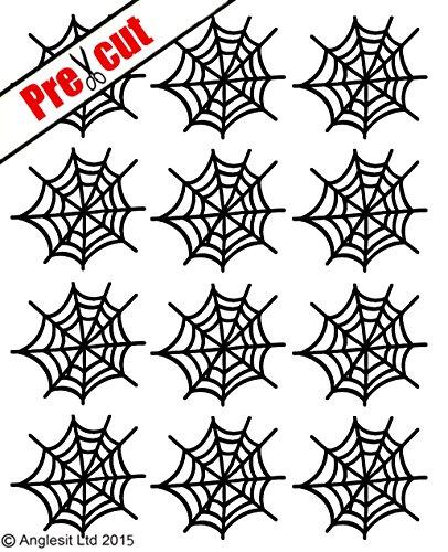 Cupcake-Topper aus Esspapier in Spinnennetzform, tolle Dekoration für Geburtstags- oder Halloweenpartys Schwarz  (Orange Und Lila Halloween-kuchen)