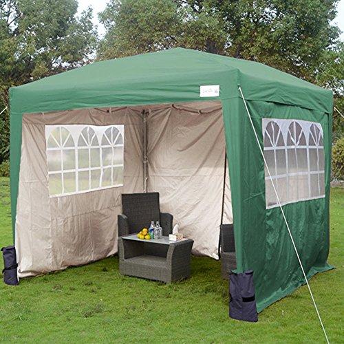 Quictent 3x3 Meter Green Pop Up Tent Gazebo Silvox Coated Waterproof UV-resistance Sidewalls Wedding Party Tent Carport Outdoor Garden Canopy Marquee With Wind Support Bar Weight Bag Sand Bag