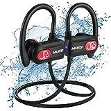 Bluetooth Kopfhörer Sport, IPX7 Wasserdicht Kabellose Kopfhörer mit Mikrofon, HD Stereo Extra Bass Geräuschunterdrückung Wireless In Ear Laufen kopfhörer, 10 Stunden Spielzeit, Tragetasche
