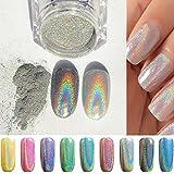 PhantomSky Uñas Glitter Brillo Espejo Cromo Clavo Polvo Manicura Pigmento - arco iris plata(Pack de 1g)