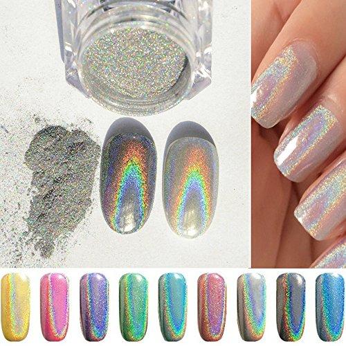 PhantomSky Unghie Glitter Lucente Specchio Cromo Unghie Manicure Pigmento di Polvere - Arcobaleno Argento(Confezione da 1g)