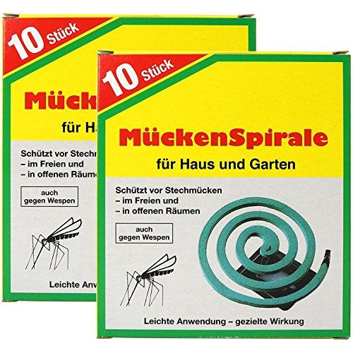 com-four® 20x Spirales Anti-épine Dorsale avec Support, Bobine Anti-moustiques pour l'extérieur (20 pièces - Spirale V2)