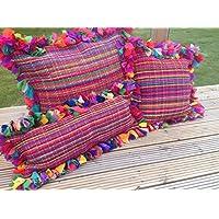 Shaggy Tappeto cuscino 60cm x 60cm–multicolore–chiusura zip multi