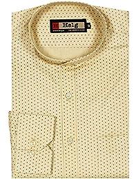 Helg Mens Satin Cotton Printed Mandarin Chinese Collar Premium Full Sleeves Comfort Fit Shirt