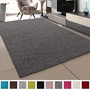 SANAT Teppich Wohnzimmer - Grau Hochflor Langflor Teppiche Modern, Größe: 80x150 cm