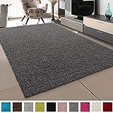 SANAT Teppich Wohnzimmer - Grau Hochflor Langflor Teppiche Modern, Größe: 160x230 cm