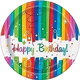 Unique Party Platos de Papel Fiesta de Cumpleaños de Franja, 8 Unidades, Multicolor, 18 cm