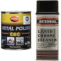 Autosol GV0402 Metal Polish, 750 ml & 0401A 250ml Liquid Chrome Cleaner