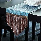 TABLE RUNNER LXF Moderno minimalista tabla corredor empalme tela raya comedor mesa tv gabinete cubierta toalla (Color : Azul, Tamaño : 30*120cm)