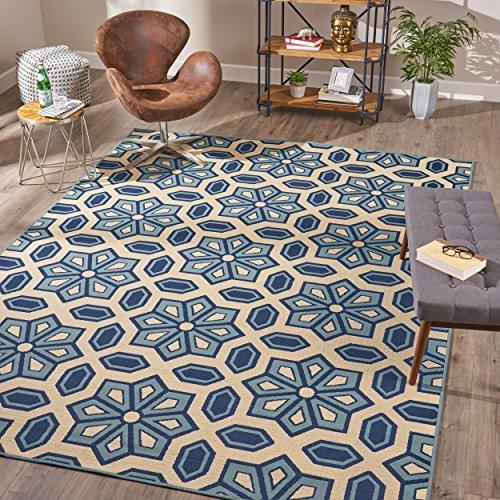 Christopher Knight Home 305642 Teppich Henna, Innenbereich, geometrisch, 8 x 11 cm, elfenbeinfarben / Blau