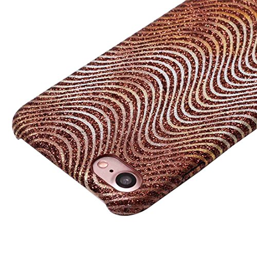 iPhone 7 Hülle Glitzer-Strass Case Schutzhülle (4,7 Zoll) im stylishen Glamour glitzer Look mit Glitzer im Wellen Look für das iPhone 7 - Farbe: Grün - Nur original von THESMARTGUARD Braun