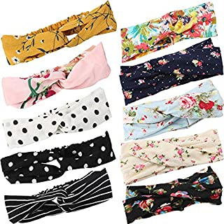 Headband Women Vintage Flower Headband Printed Head Scarf Elastic Hairband,Bandana Boho Hairbands Hair Accessories,10Pcs