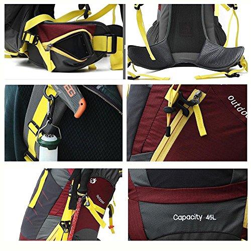 Trekking rucksäcke 45L Wasserdichter Wanderrucksäcke Camping Rucksäcke für Klettern Bergsteigen mit Regenschutz-1006 Blau