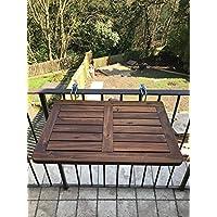 Mesa Click Deck plegable de madera noble para colgar en el balcón,