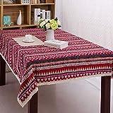 Vlunt Nappes Rectangulaires Anti Taches, Vintage Nappes de Table en Lin Tissu Motif en Zigzag - Rouge, I:140 * 250CM