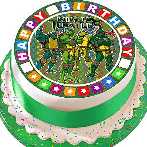 vorgeschnitten, essbar, aus Zuckerguss, Gr. L, 19cm, rund, Motiv: Teenage Mutant Ninja Turtles, mit Bordüre Happy Birthday ()