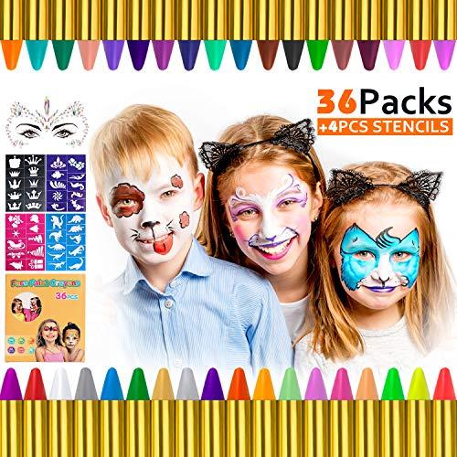 Gifort 36 Colori Face Paint, Face Paint per Bambini Face Painting Body Painting Kit Sicuro e Non Tossico con 32 Stampini, Perfetto per Carnevale, Pasqua, Natale, Halloween