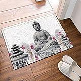 19.6.3WLXH-3554 Estatua de Buda Decorativa con Piedra en la Alfombra de baño de Agua Puerta de la Puerta Delantera Trasera Dormitorio Cocina baño Accesorios 40X60CM