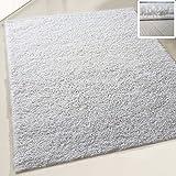 Flauschiger Teppich Langflor Hochflor Shaggy Teppiche Modern Wohnzimmer Flokati Einfarbig Uni | verschiedene Maße | Kinderzimmer & Jugendzimmer geeignet | Schadstofffrei (Weiß, 160 x 220 cm)