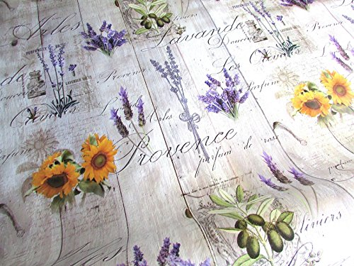 LAV/SUN/Planks Combo - PVC Vinyl PVC Tablecloth Wipe Clean Roses Sunflower lavender Poppies Oilcloth 140cm Wide and 1 Metre of Length (Blue Vinyl Tischdecke Navy)